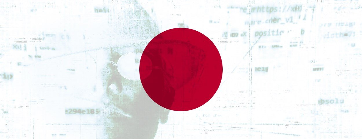 Japan flag imposed on a photo portraying a hacker