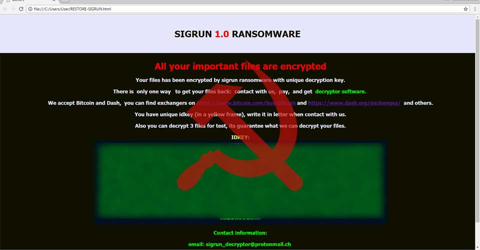 Sigrun Ransomware Author Decrypting Russian Victims for Free
