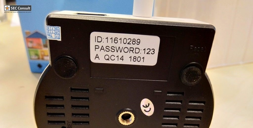 Default password on the bottom of a security camera
