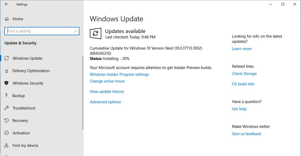 Microsoft released windows 10 insider update to build 177131002 to microsoft released windows 10 insider update to build 177131002 to test servicing pipeline ccuart Images
