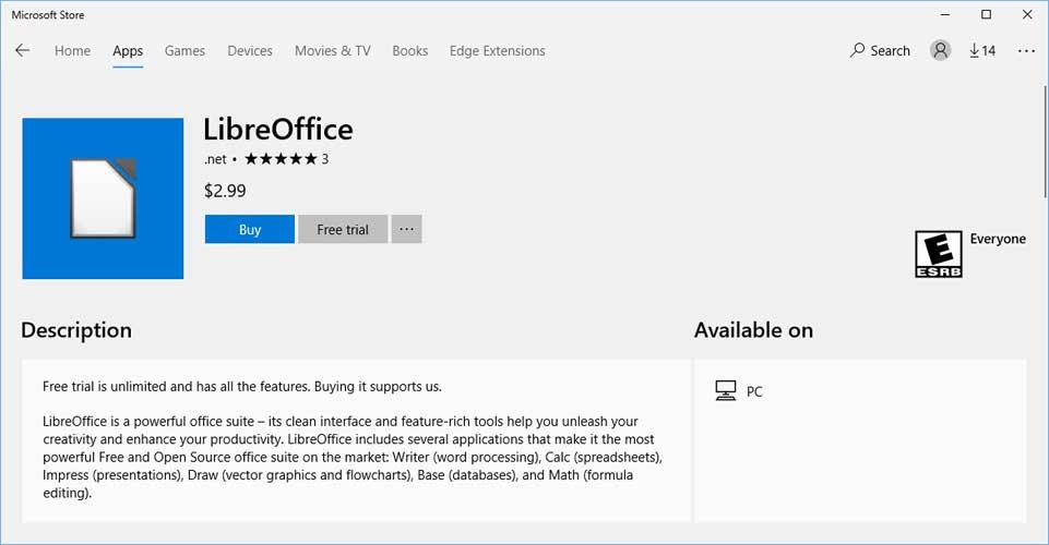 LibreOffice vahvistaa Facebookissa: älä lataa toimisto-ohjelmistoa Windows 10:n sovelluskaupasta