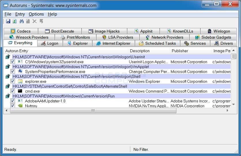 Sysinternals autoruns download.