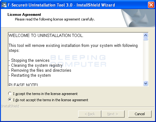 Download F-Secure Uninstallation Tool