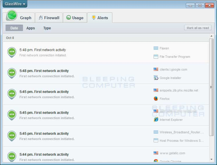 Download Glasswire Screenshots for Glasswire