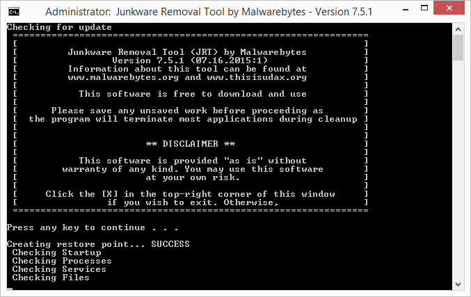 Download Junkware Removal Tool
