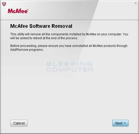 Download McAfee Consumer Products Removal tool
