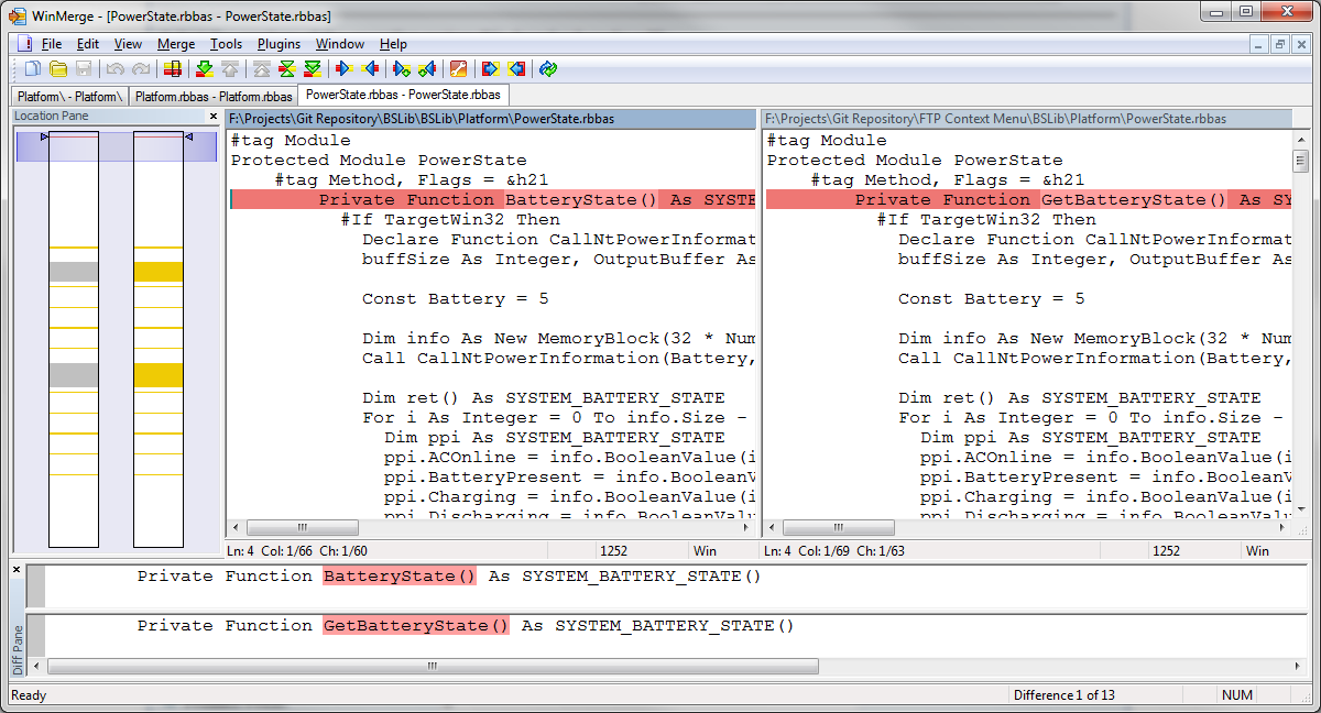 WinMerge highlights a subtle difference in two similar source code files