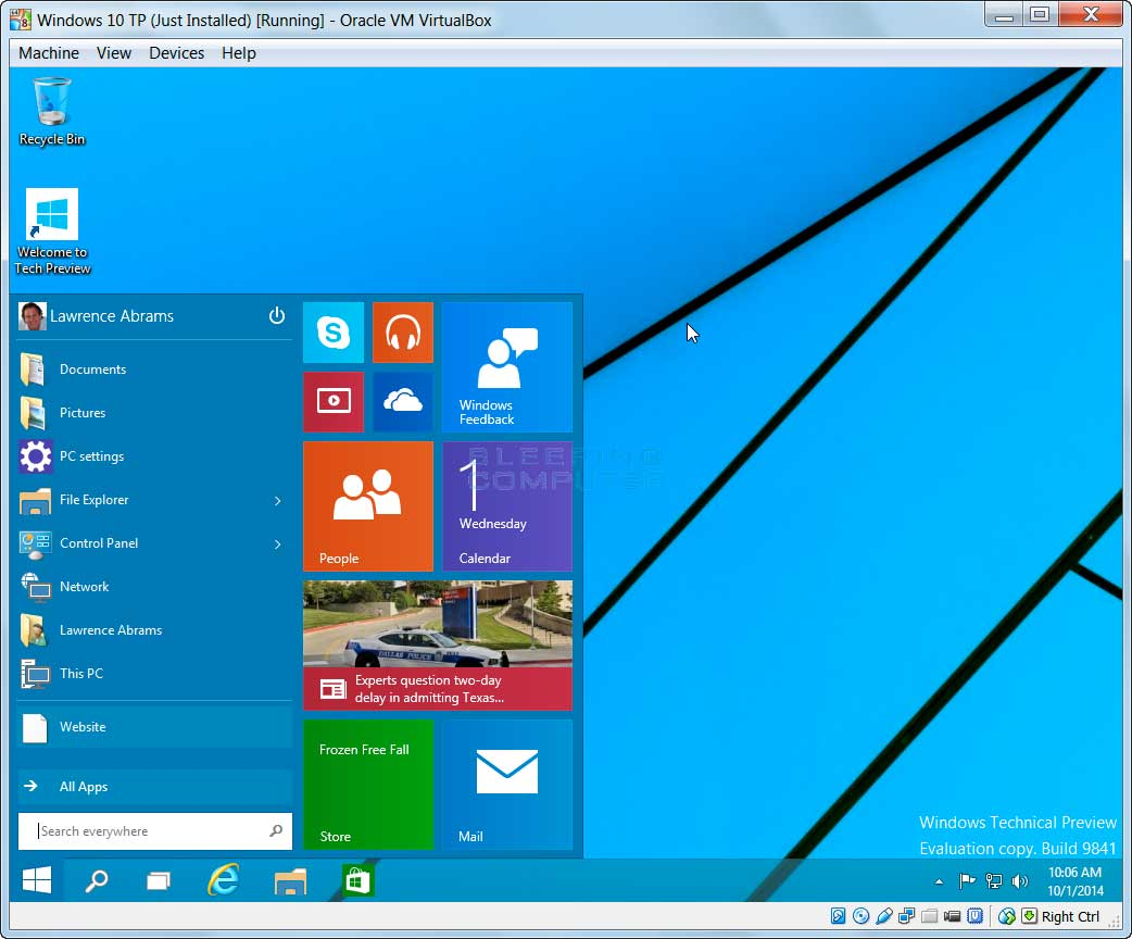 Windows 10 technical preview is now available via the for Windows windows