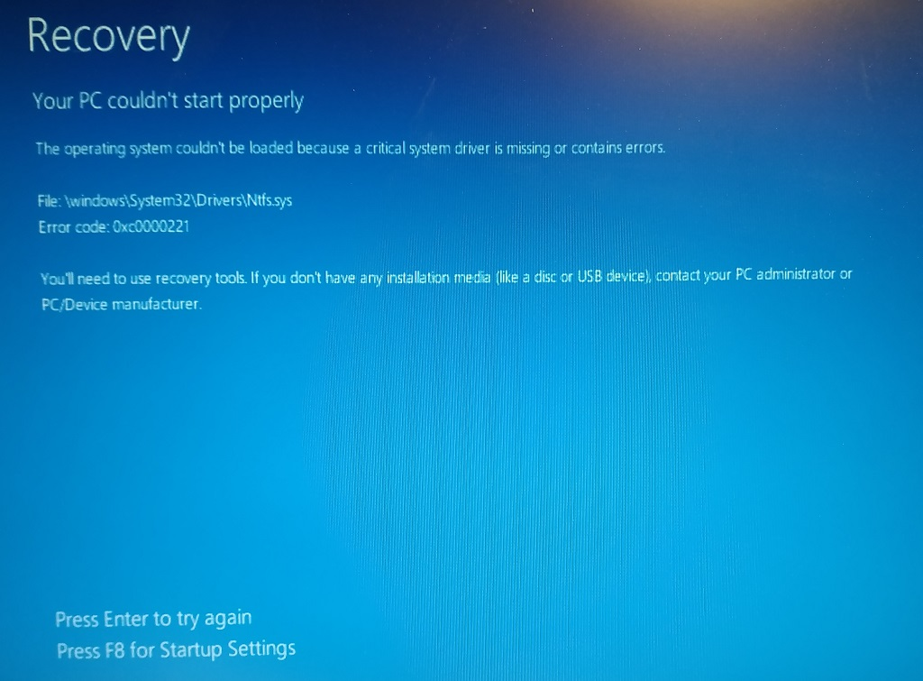 windows 10 boot from usb blue screen