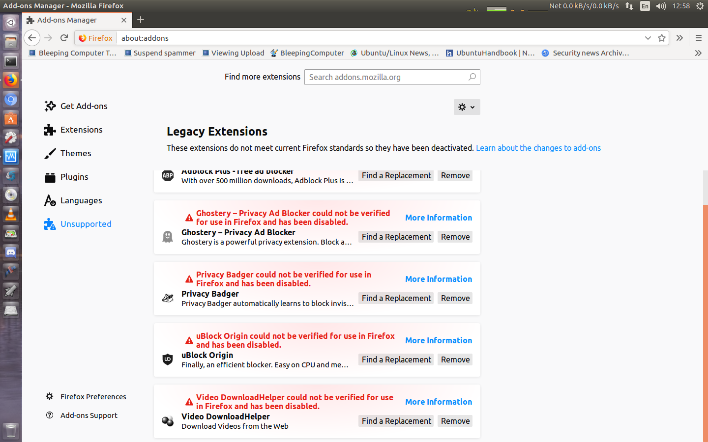 Firefox disabled addons? - Web Browsing/Email and Other