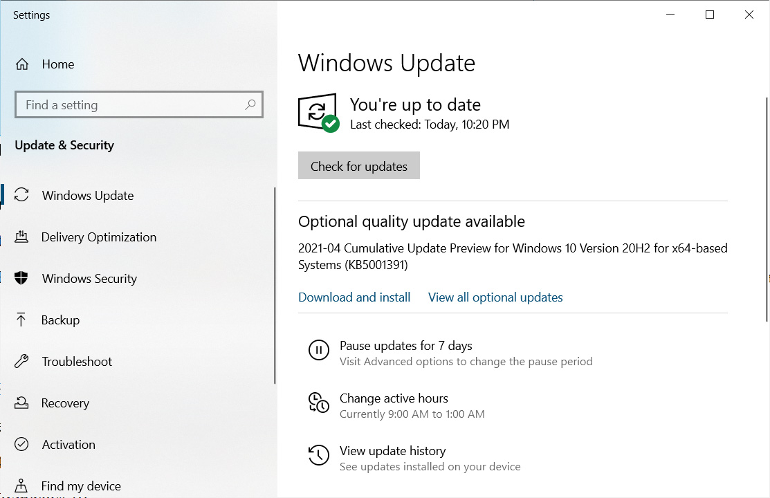 The Windows 10KB5001391preview update
