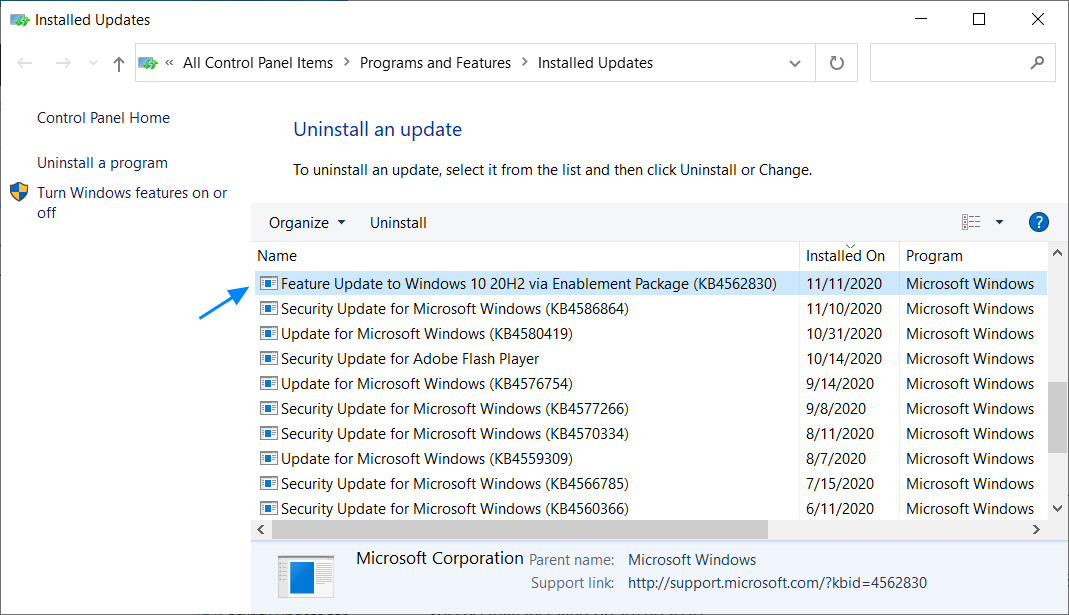 Uninstall the KB4562830 Windows 10 20H2 enablement package