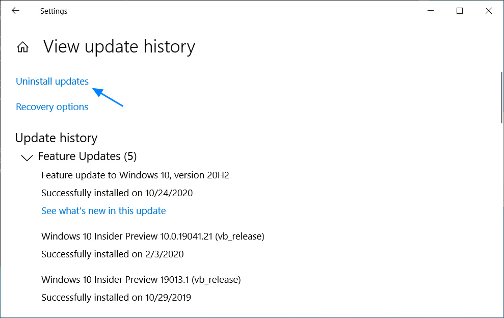 View update history settings page