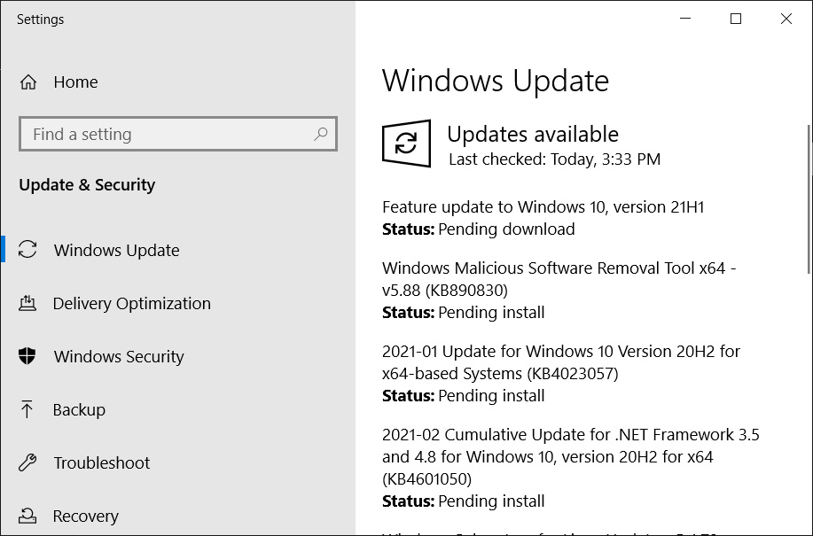 Windows 10 21H1 offered in the Release channel
