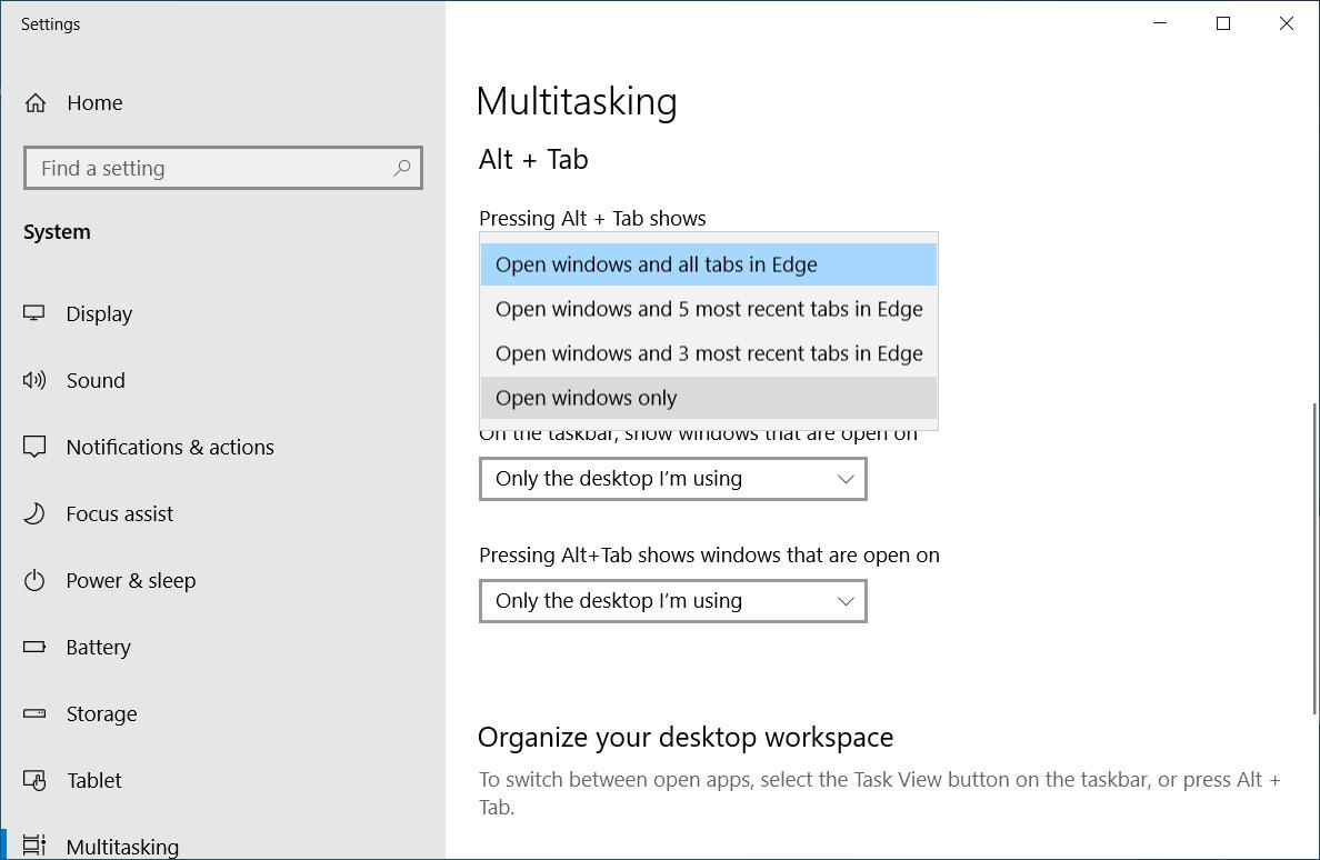 New Alt + Tab Multitasking settings