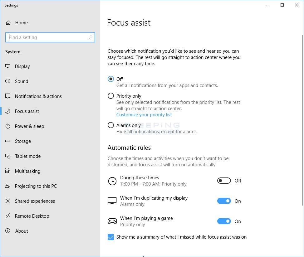 Focus Assist Settings
