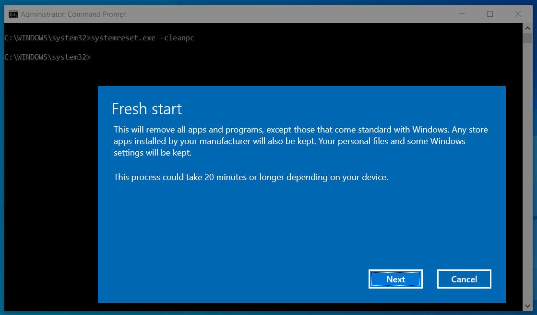 Fresh Start feature