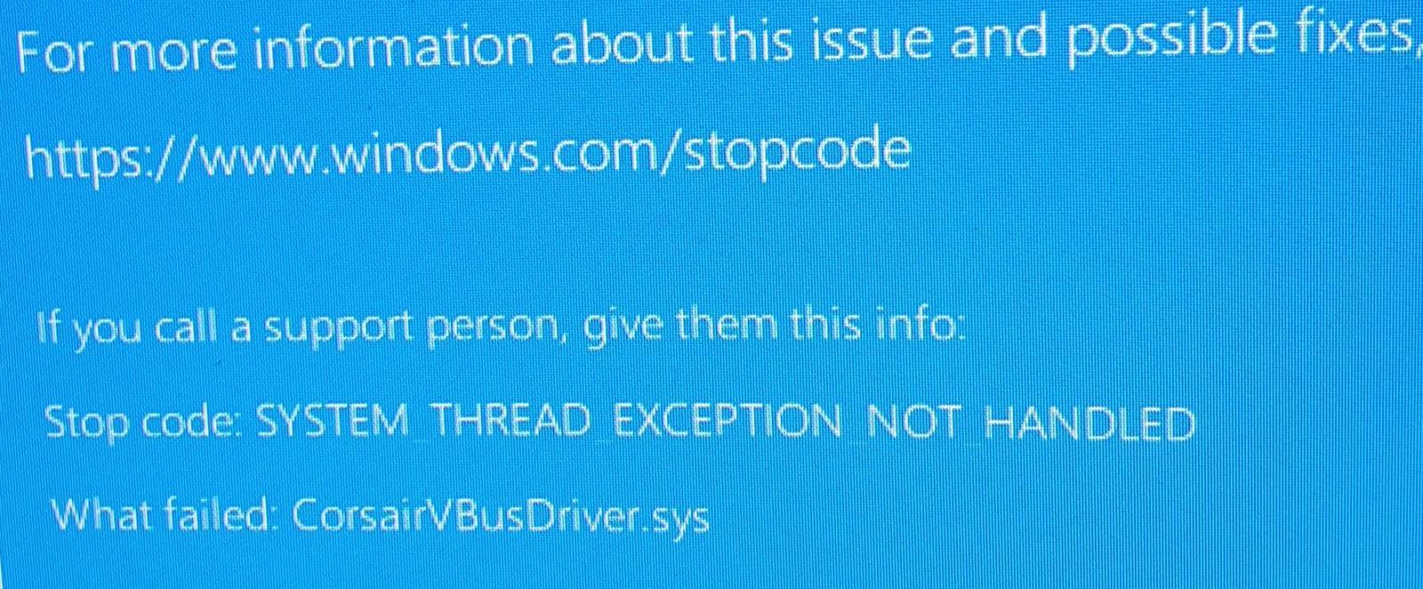 Accidente de la pantalla azul de la muerte de CorsairVBusDriver.sys