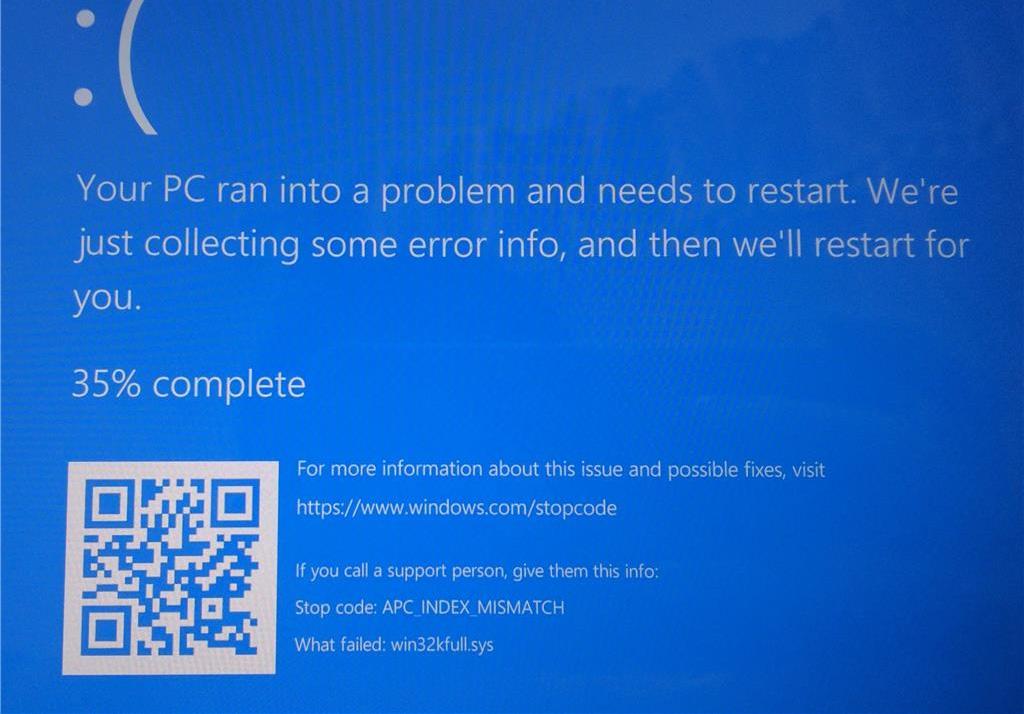 Example APC_INDEX_MISMATCH blue screen crash