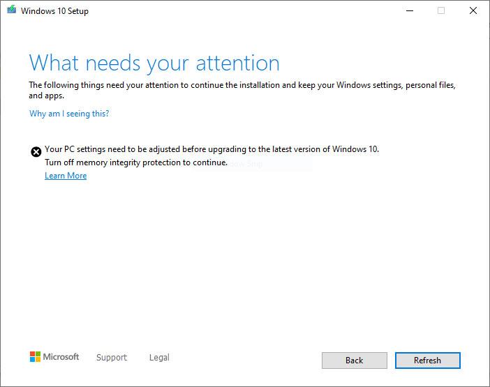 Windows 10 upgrade block message