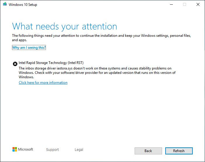 Windows 10 1903 Update Blocked by Old Intel Rapid Storage