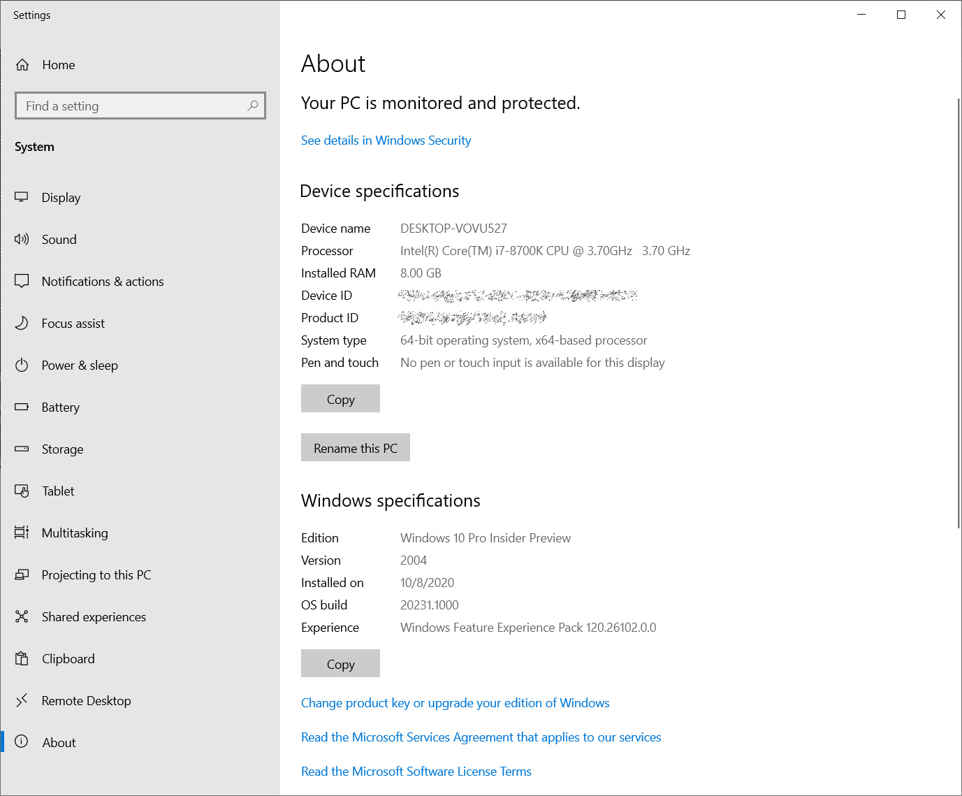 Updated about settings page