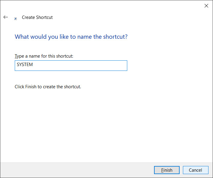 System Shortcut Naming