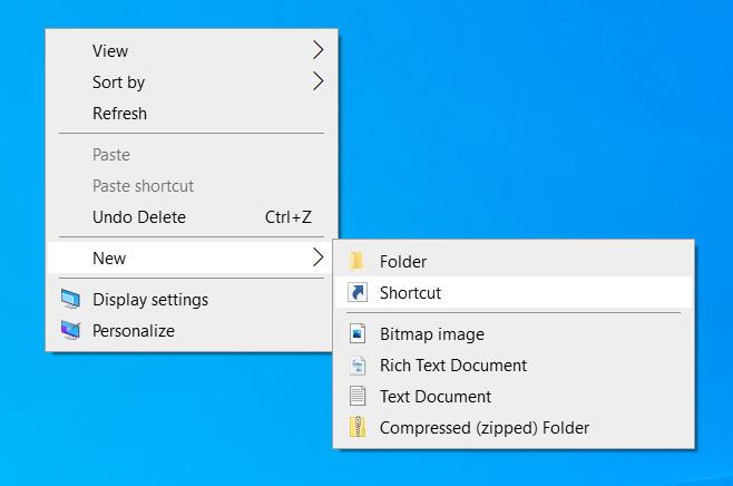 Create a new shortcut
