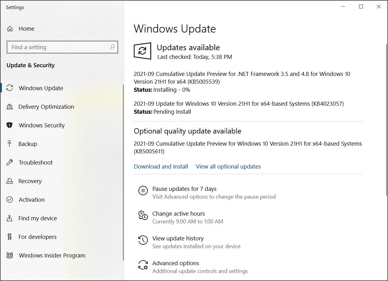 Windows Update ofrece la actualización opcional KB5005611