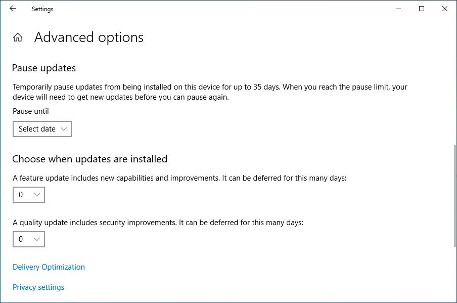 Defer update setting in Windows 10 1903