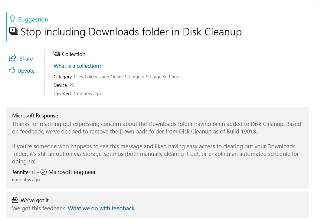 Disk Cleanup Feedback Hub