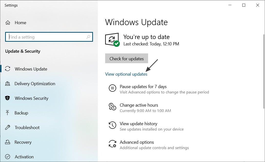 View optional updates in Windows Update