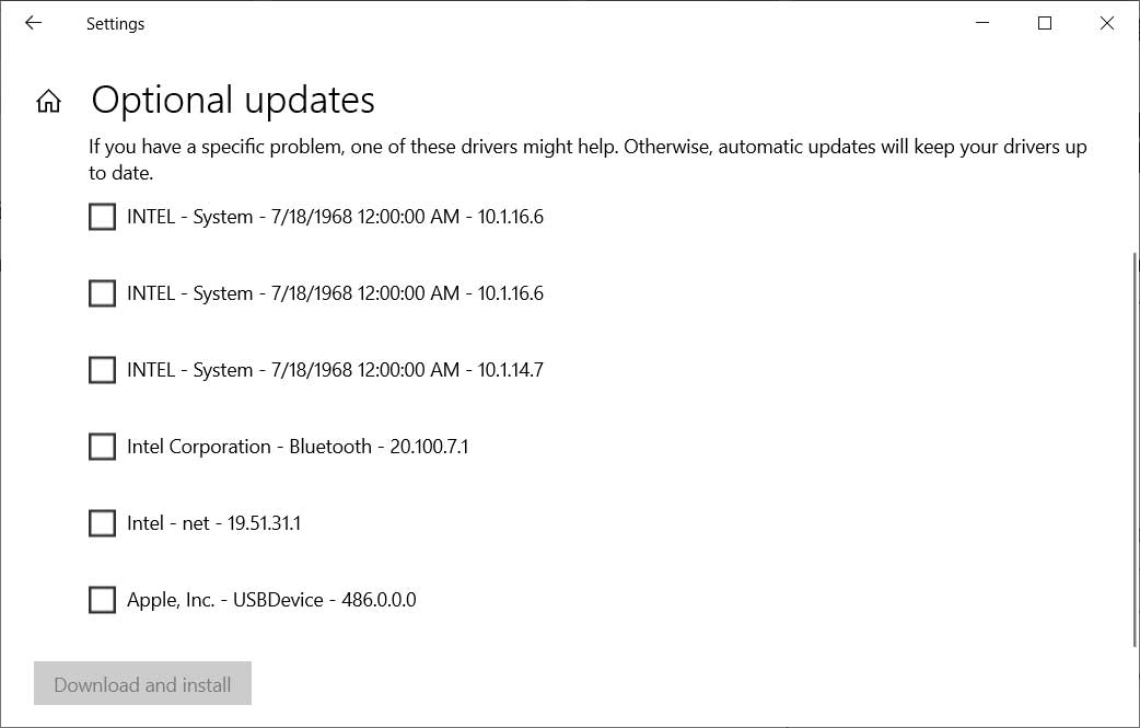 Windows 10 Optional Updates section