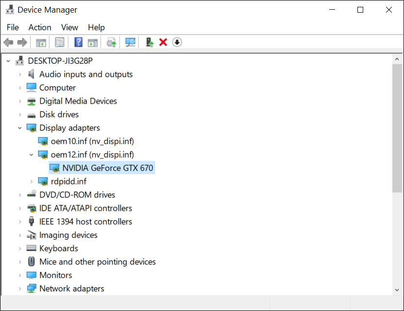 Drivers by type Device Manager view mode