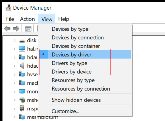 New View modes in Device Manager