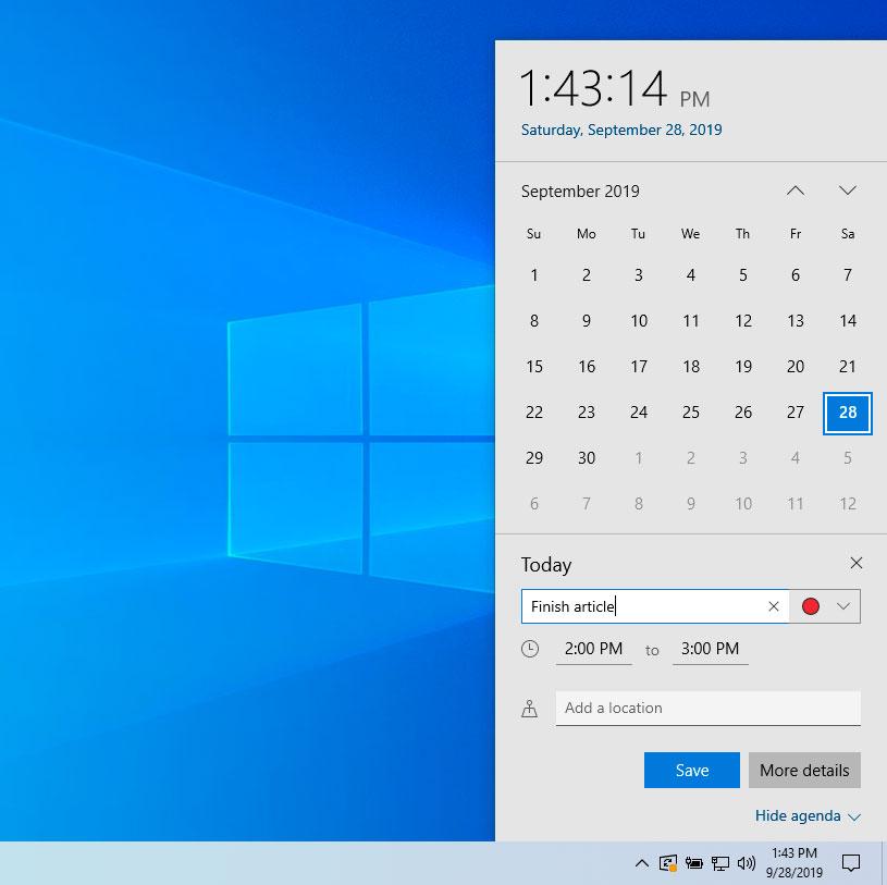 Taskbar Calendar
