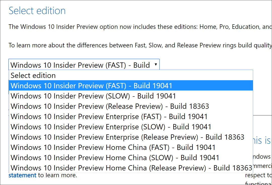 Select Windows 10 Insider Build ISO