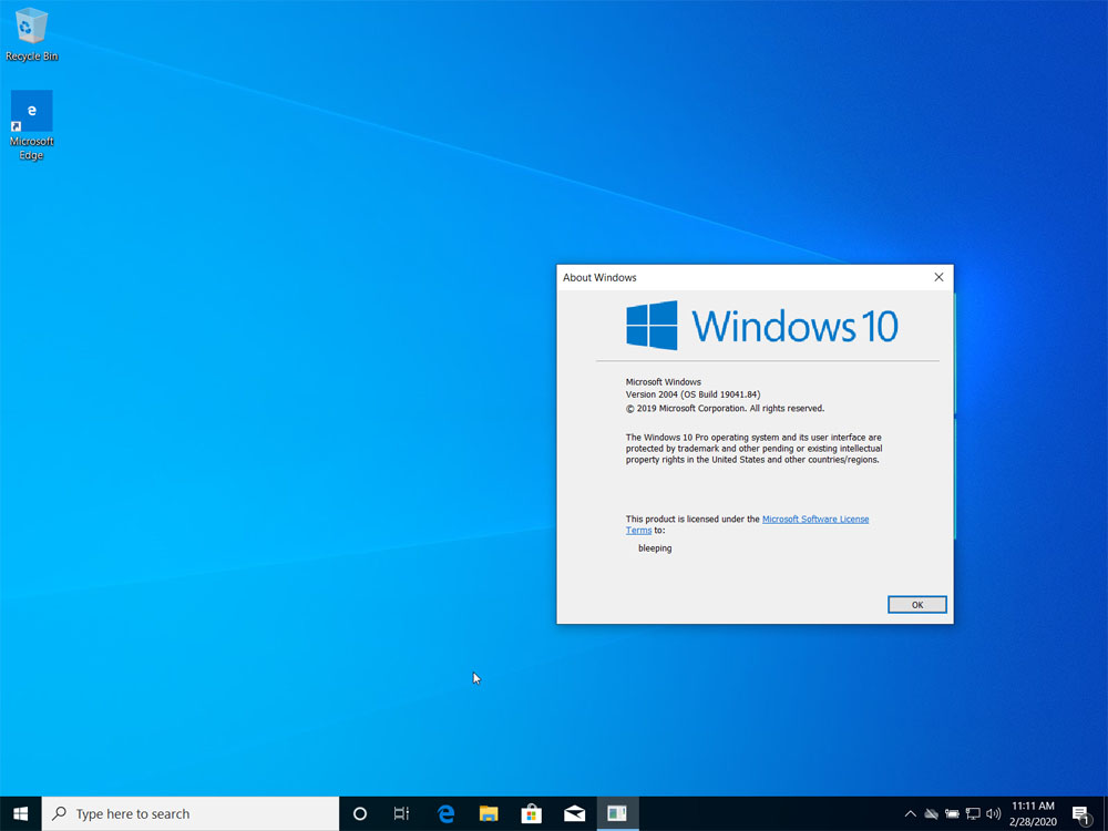 Clean Install of Windows 10 2004