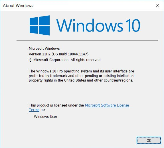 Updated to Windows 10 Version 21H2 Build 19044.1147