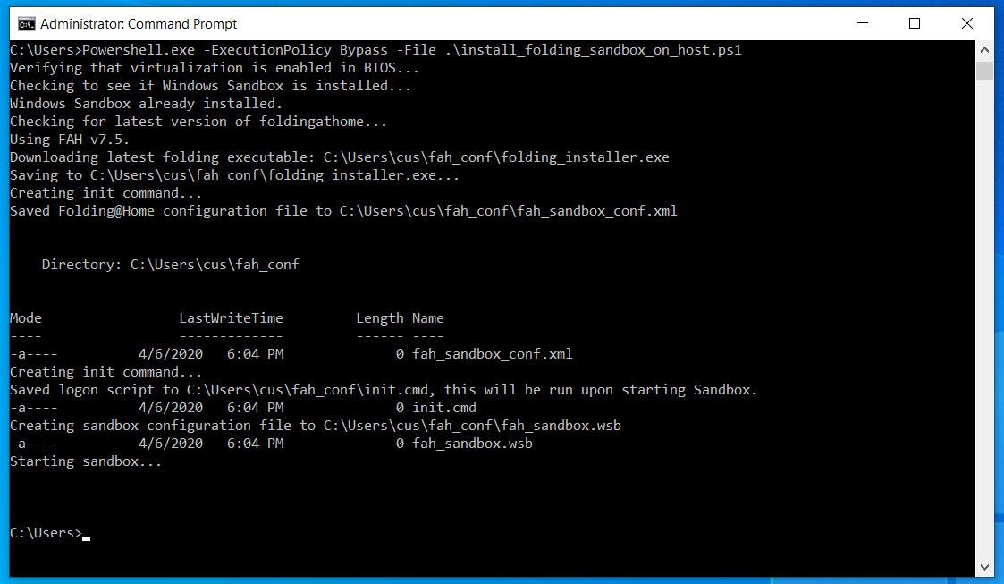 PowerShell script installing Folding@Home