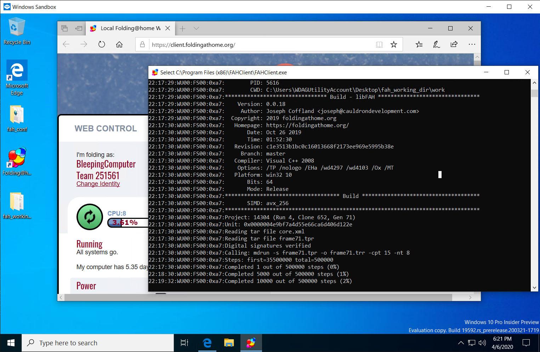 Folding@Home in the Windows Sandbox