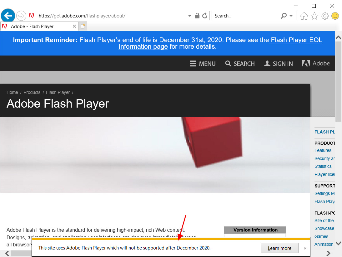Flash warning in Internet Explorer