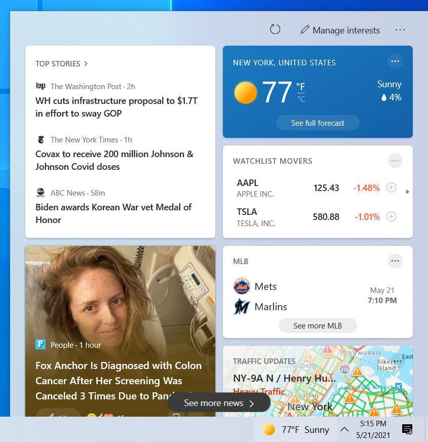 News and Interests taskbar news feed