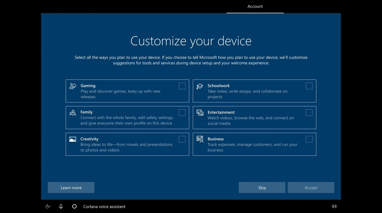 New Windows 10 setup optional customization screen