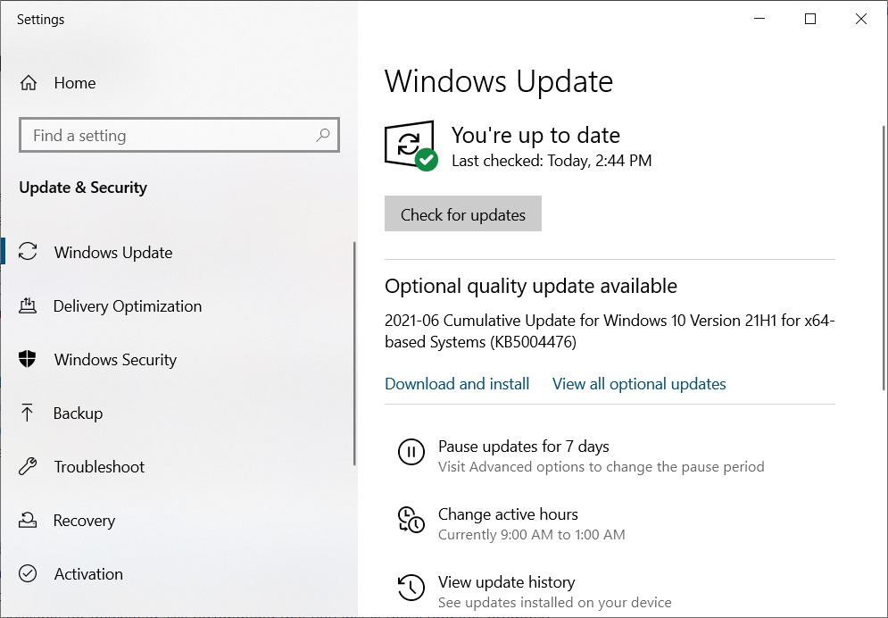 Windows 10 KB5004476 optional update