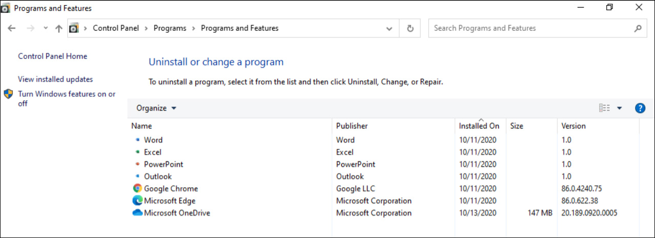 PWAs installed in Windows 10 Programs and Features settings