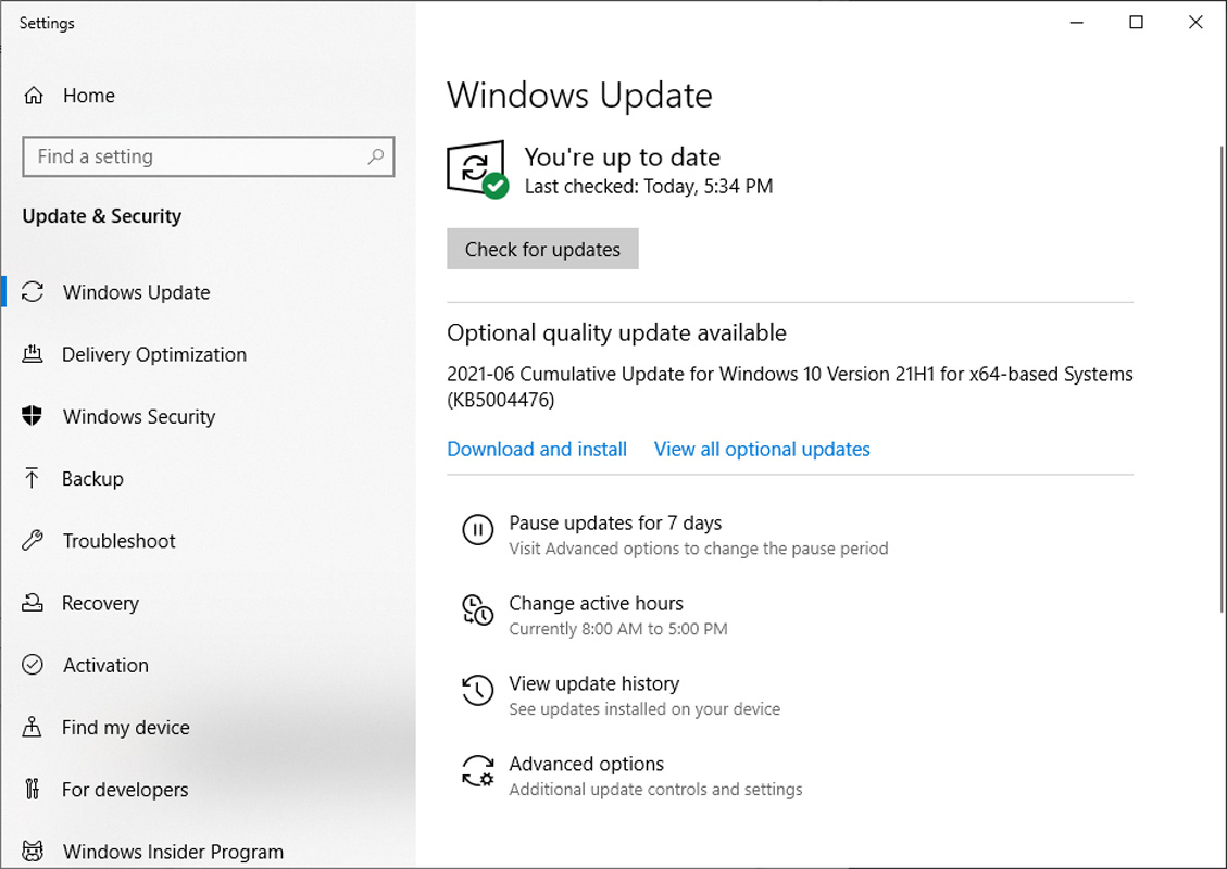 Windows 10 KB5004476 OOB update shown after installing Windows 10 21H1