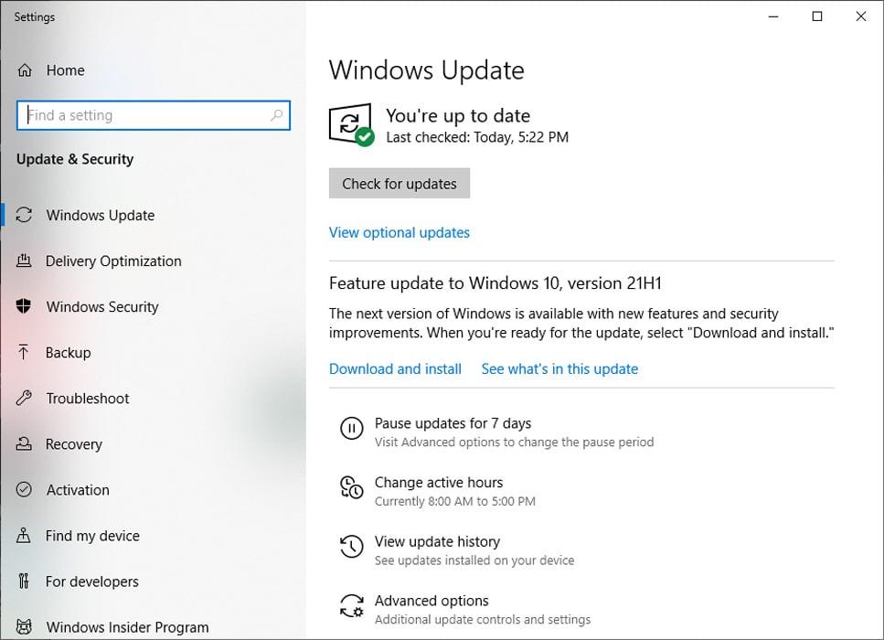 Windows 10 21H1 feature update offered as an optional update