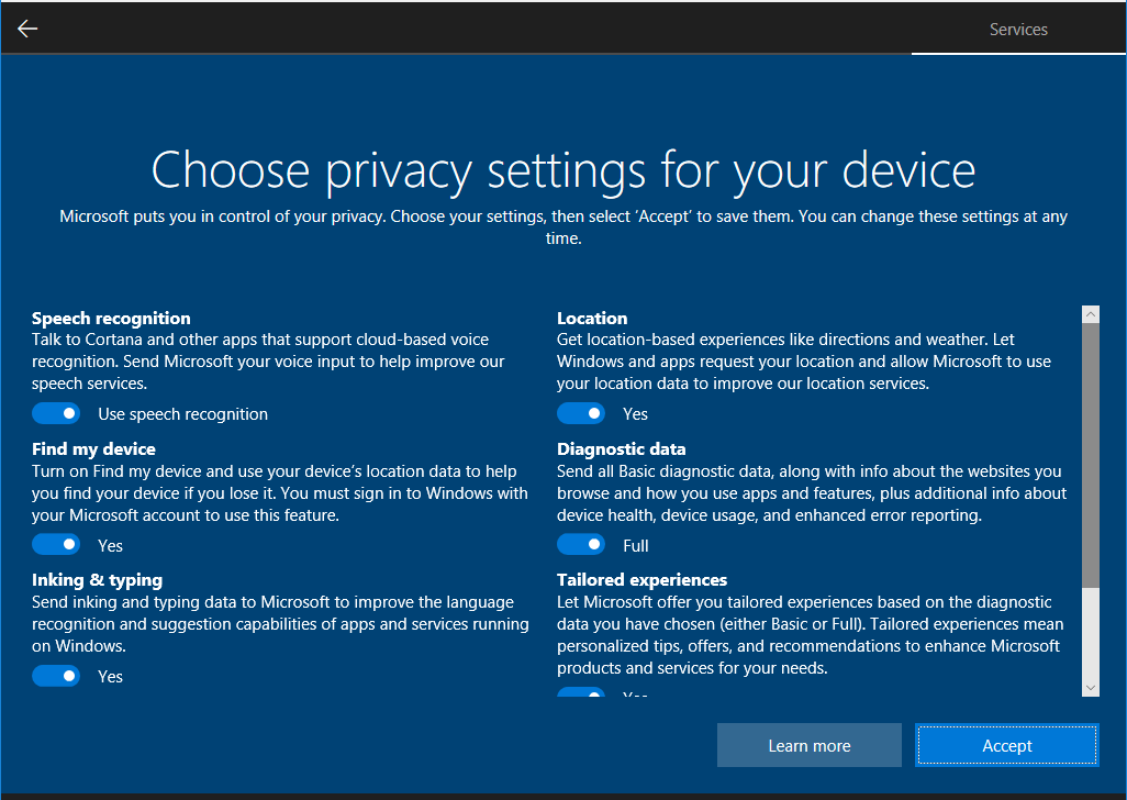 Privacy settings screen