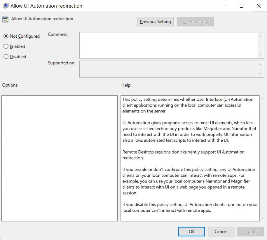 Permitir la redirección de la automatización de la interfaz de usuario